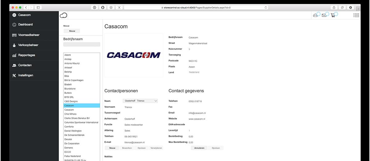 StoreContrl Cloud Webbased winkelautomatisering contactenpagina