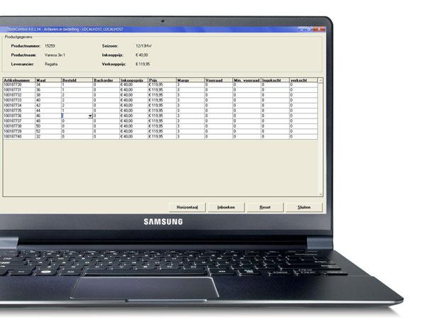 Laptop met de inkoopmodule van StoreContrl Classic